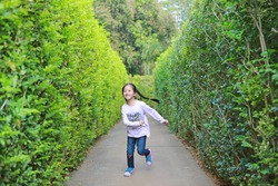 Asian little child girl running in garden Maze. Kid playing in labyrinth for fun and entertainment