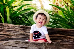 Asian little cute boy are sma