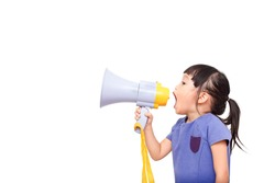 Asian little girl announce by megaphone isolated on white background