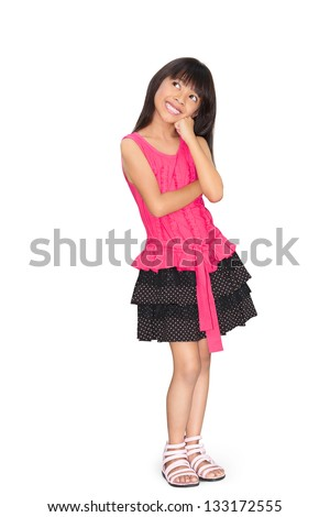 Asian little girl thinking, Isolated over white with clipping path