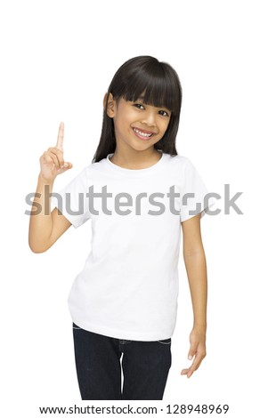 Asian little girl with index finger up, Isolated over white with clipping