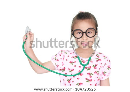 asian little girl with stethoscope isolated white background