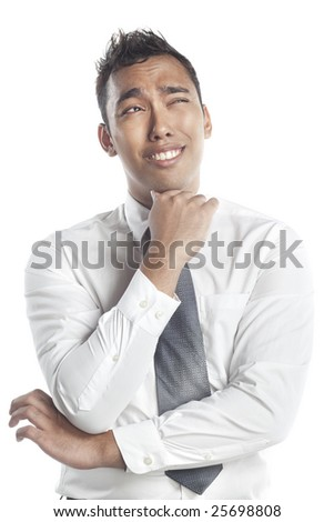Asian Malay young man with a puzzled expression and a toothy smile
