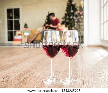 Asian male and female couples are having romantic suites giving love in their homes, living rooms, on holidays. #1543285238