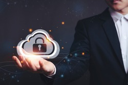 Asian male businessmen with Security lock cyber is a key safe device protection upload backup data on the cloud keep for privacy database. Concept of preventing data theft