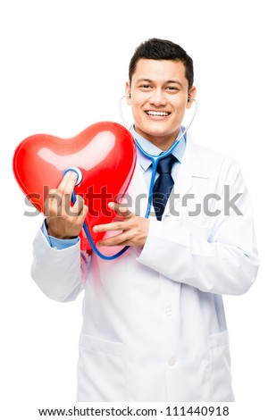 Asian male doctor listening to human heart isolated on white background