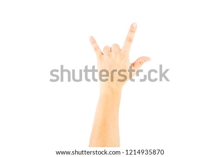 Asian male hand showing fingers means I love you on white background with clipping path.