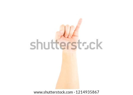 Asian male hand showing little finger means promise on white background with clipping path.