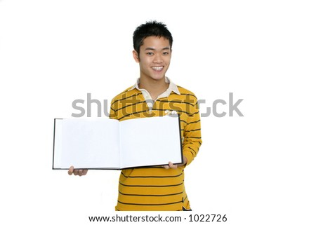 Asian Male holding blank book