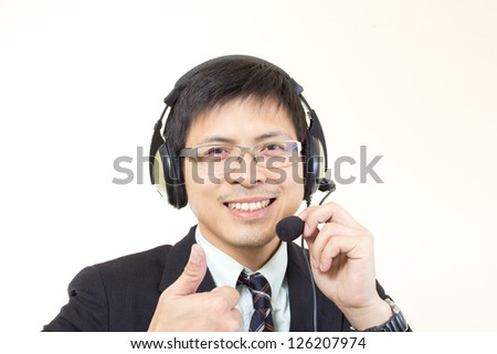 Asian man call center with phone headset with white background - stock photo