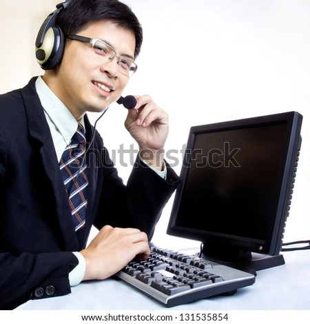 Asian man call center with phone headset with white background