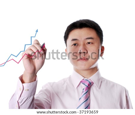 asian man drawing diagram with two lines and arrows