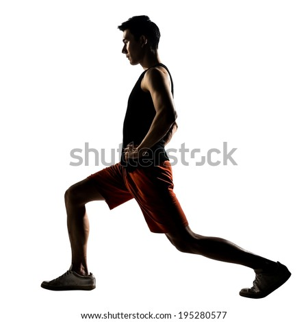 Asian man exercising fitness workout lunges crouching in silhouette on white background. #195280577