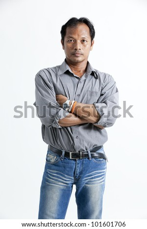 asian man looking at camera against different backgrounds