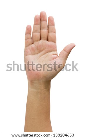 Asian man's open hand isolated on white.
