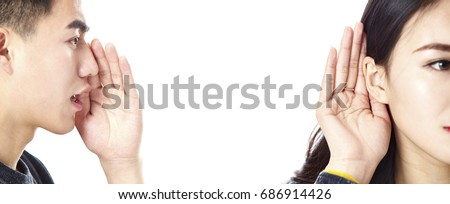 asian man speaking woman listening, isolated on white background.