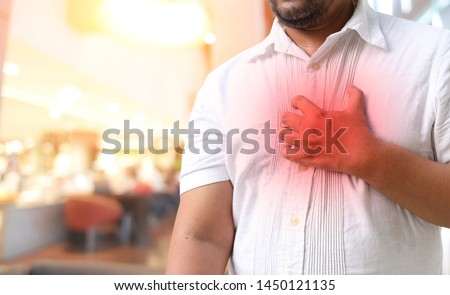 Asian man with hypertension heart Foto d'archivio ©