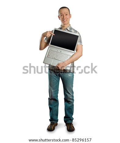 asian man with open laptop in his hands, smiles at camera