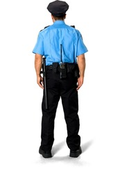 Asian man with short black hair in uniform - Isolated
