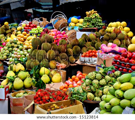stock photo : Asian market, exotic fruits