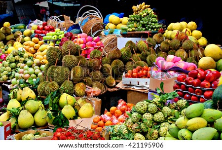 Asian market, exotic fruits #421195906