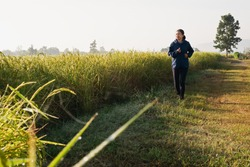 Asian mature adult senior woman jogging in the morning in nature trail organic rice paddy field path. Healthy lifestyles and sustainability concepts.