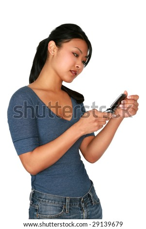 Asian model on cell phone