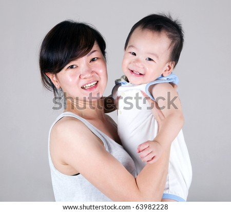 asian mother and baby boy
