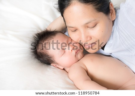 Asian Babies Asian Mother With Newborn Baby