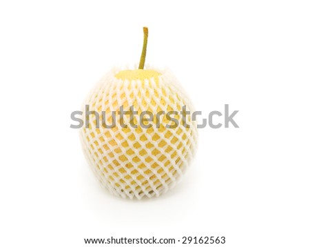 asian nashi pears. apple pears in packing protective net