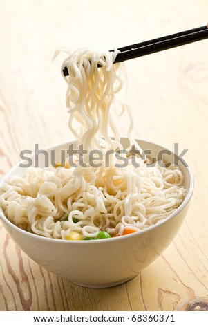 asian noodle soup on kitchen table