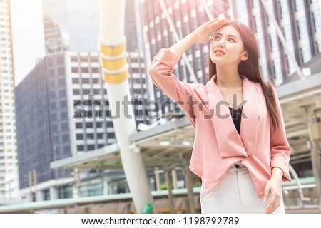 Asian office women skin damage from sun UV city air pollution concept