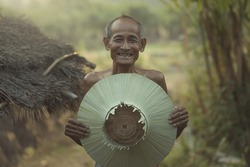 Asian,Old Farmer with smile happiness.