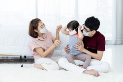 Asian parents wear masks for daughters with developmental disabilities. Before preparing to leave the house to prevent PM2.5 and Covid-19 dust, medical commentary.