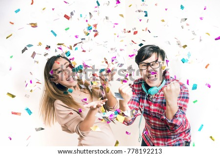 Asian People Having Fun in Celebrate Party - Surprise and Excite Emotion for Stock Photo #778192213