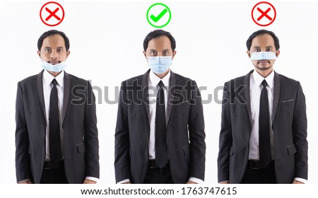 Asian people in suits and wearing protective masks in various forms.There is a mark telling what is right and wrong.