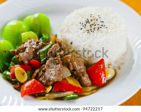 asian rice meat