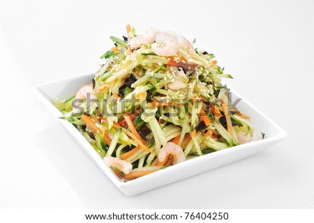 asian salad served on plate isolated