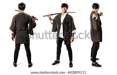 Asian samurai man with katana #682809211