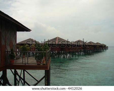 asian sea resort in row