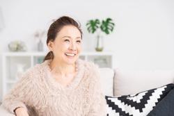 Asian senior age woman relaxing
