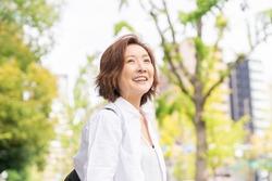 Asian senior age woman , smile