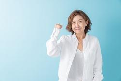 Asian senior age woman who smiles