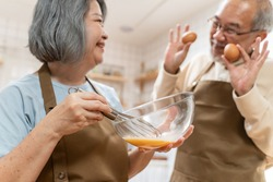 Asian Senior elderly couple standing in kitchen at house feeling happy and enjoy retirement life together. Loving Older grandparent cooking food with smiling face. Relationship and activity at home.