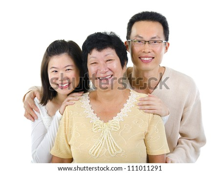 Asian senior mother and adult offspring over white background