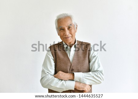Asian senior old man, Confident and smiling elderly people on white background, Healthy and happy retiree citizen concept.
