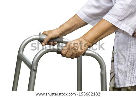 Asian senior woman using a walker