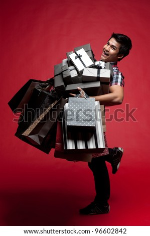Asian shopping with bags and presents
