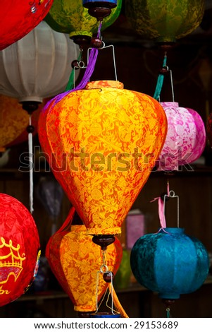 Asian silk lanterns in a street market