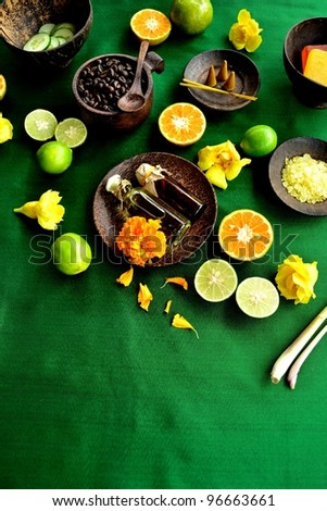 Asian spa supplies with citrus fruit